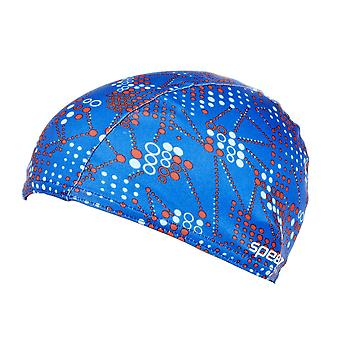 Speedo Polyester Printed Swimming Swim Pool Water Hair Cap Junior Blue
