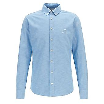 Hugo Boss Casual Men's Slim Fit Open Blue Mabsoot Long Sleeved Shirt