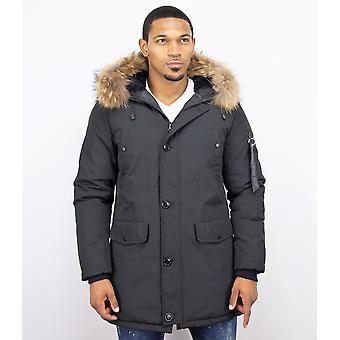 Parka Jacket men – with fur collar – black
