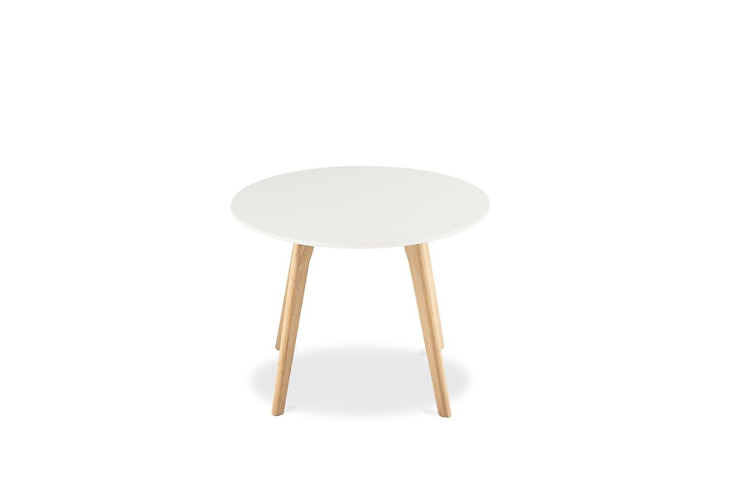 Furnhouse Life Coffee Table, White Top, Natural Wooden Legs, 60x60x45 cm