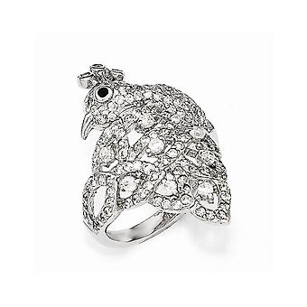 Cheryl M 925 Sterling Silver Black and White CZ Cubic Zirconia Simulated Diamond Peacock Ring Jewelry Gifts for Women -