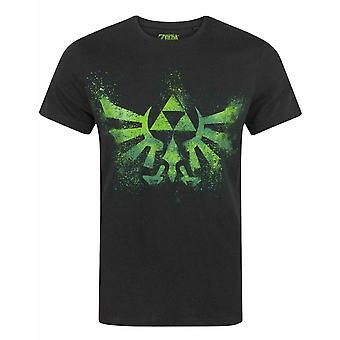 Zelda Green Triforce Logo Men's Short Sleeve T-shirt in Zwart