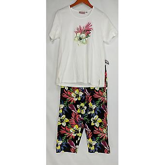 Quacker Factory Set Tropic Fun T-shirt & Printed Capri Pants White A304109 PTC