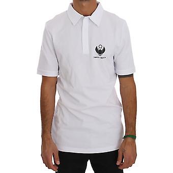 Frankie Morello White Cotton Stretch Polo T-Shirt