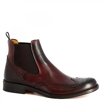 Leonardo Shoes Men's handmade brogues ankle boots in burgundy calf leather
