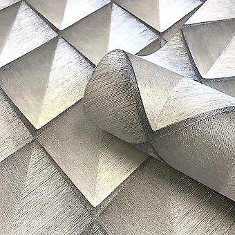 Callisto Diamond Wallpaper Belgravia Silver Grey Metallic Textured Vinyl