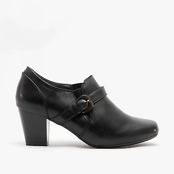 Boulevard Ladies Slip On Buckle Heeled Ankle Boots Black
