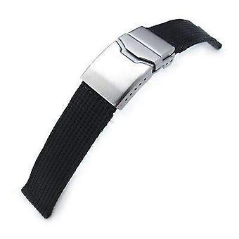 Strapcode fabric watch strap 22mm miltat 3d nylon black watch strap brushed button chamfer clasp