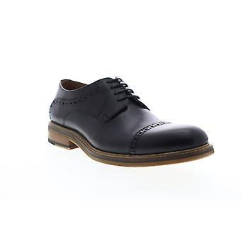 Zanzara Paul  Mens Black Leather Casual Lace Up Oxfords Shoes