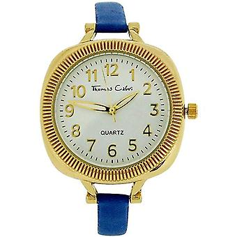 Thomas Calvi Ladies Analogue White Dial Blue PU Strap Watch Strap Watch TCW155B