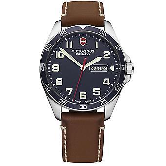 Victorinox Swiss Army Fieldforce Blue Dial Brown Leather Strap Herenhorloge 241848 RRP Â £299