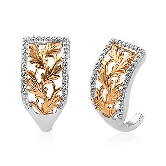 Hoop White Diamond Leaf Earrings Platinum and Gold Plated Sterling Silver TJC