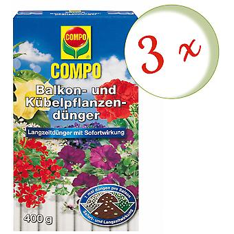 Sparset: 3 x COMPO balcony and potted plant fertilizer, 400 g