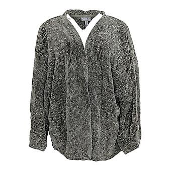 Anybody Women's Plus Sweater Chenille Cropped Cardigan Gray A345313