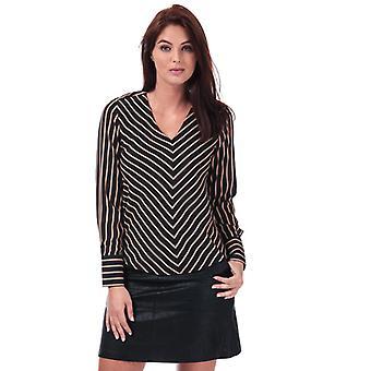 Women-apos;s Only Petunia V-Neck Stripe Top en noir