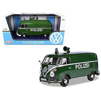 MotorMax Motormax Volkswagen VW Type 2 (T1) Polize Van Green 1:24