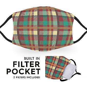 Madras Tartan - Reusable Adult Cloth Face Masks - 2 Filters Included