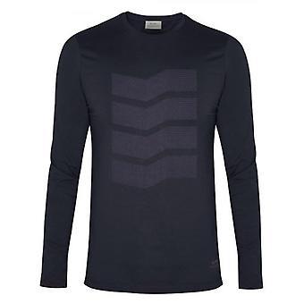 CC Collection Corneliani Navy Zig-Zag Long Sleeve T-Shirt