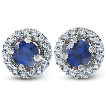 1/4 Ct Halo Diamond & Blue Sapphire Borchie 10K Oro Bianco