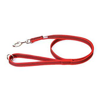"""Julius-K9 Color & Grey Super-Grip Leash Red-Grey Width (0.7""""/ 20mm) Length (4ft / 1.2 m) With Handle and O ring, Max for 110lb/ 50 kg Dog"""