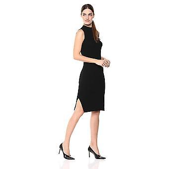 Lerche & Ro Frauen's ärmellose gerippte Mantel Pullover Kleid mit, schwarz, Größe groß