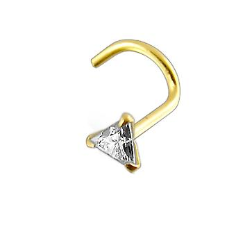 14K Gold Triangle Jeweled Nose Screw