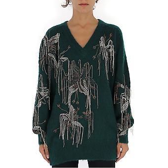 Amen Amw19901135 Frauen's grün Acryl Pullover