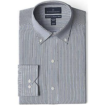 """BUTTONED DOWN Men's Tailored Fit Button-Collar Pattern Non-Iron Dress Shirt, Navy/Red Stripe Dot 17"""" Neck 33"""" Sleeve"""