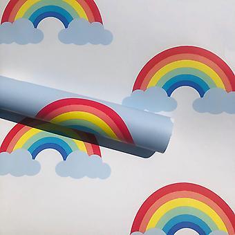 Rainbow Wallpaper White / Multi World of Wallpaper WOW041