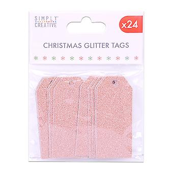 Simply Creative Christmas Glitter Tags Rose Gold