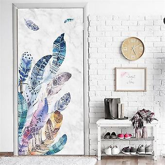 Creative Skeleton Embossed Flower Pattern Animal Scenery Door Stickers - Pvc Self Adhesive Wallpaper Home Decor Murals Refrigerator Art Posters