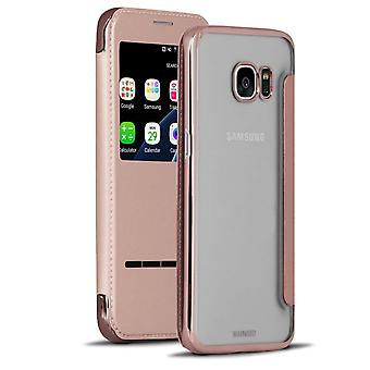 Transparent Book Case with Bling for Samsung Galaxy S7 Glass Protection Leather Ette Leds Pink