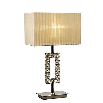 Rechthoek tafellamp met zachte bronzen tint 1 licht antieke messing, kristal