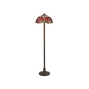 2 Light Stepped Design Lampada da pavimento E27 con 40cm Tiffany Shade, Viola, Rosa, Cristallo, Ottone Antico Invecchiato