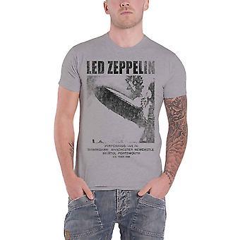 Led Zeppelin T Shirt UK Tour 69 LZ1 Band Logo new Official Mens Grey