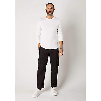 Firswood mens organic cotton loose fit cargo trousers - black