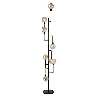 Erica Floor Lamp, 8 Light G9, Matt Black/antique Brass/cognac Glass
