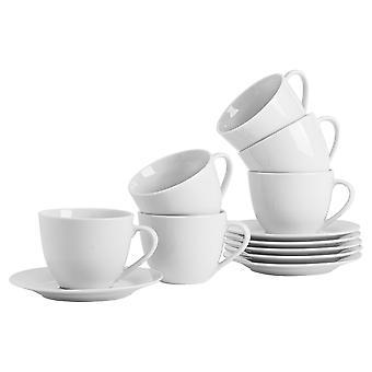 48-osainen valkoinen cappuccinokuppi ja lautassetti - klassiset posliinikupit teelle ja kahville - 320ml