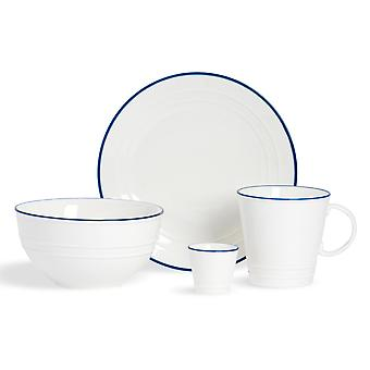 Nicola Spring 16 Piece Country Farmhouse White Breakfast Crockery Set - Bowls, Plates, Egg Cups, Coffee Cups