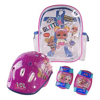 Lol Surprise Children's Helmet Knee Elbow Protection Set with Carry Bag Girl