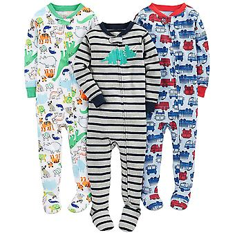 Simple Joys by Carter's Baby Boys' 3-Pack Snug-Fit Footed Cotton Pajamas, Fir...