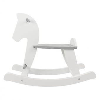 Puckdaddy cavalo de balanço Nino 26.5x78x63.5cm rocking animal feito de madeira branca em cinza de 12 meses