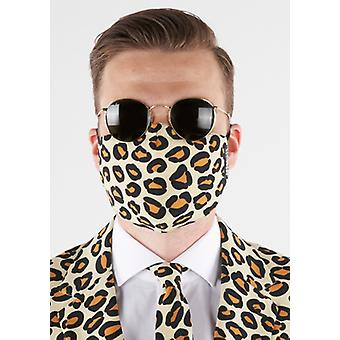 Mouth mask leopard leo pattern with clips washable leopard mask