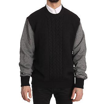Dolce & Gabbana Black Gray Wool Crewneck Pullover Sweater