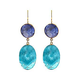 Gemshine örhängen blå topas kvarts ovaler och blå safirer. 925 Guldpläterad silver