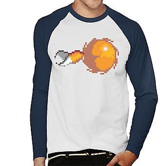 Sonic Siili pikselöity hännät Flying Men's Baseball Pitkähihainen T-paita