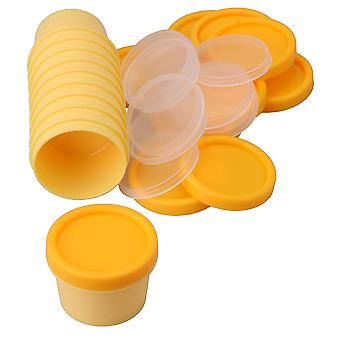 10x Cosmetic Bottle Plastic Containers with Inner Pad and Lids Yellow