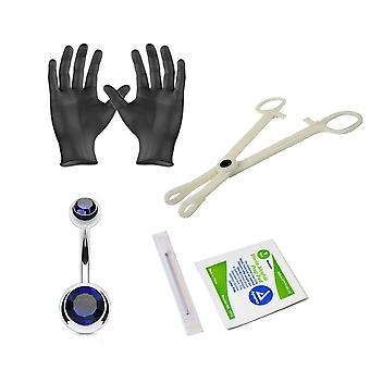 Kehon lävistyssarjan vatsarengas 14 gauge clamps, neulat, käsineet ja korut