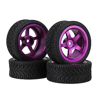 4 x fialové 5-lúčové hliníkové disky kolies +4 x čierne nechať gumové pneumatiky pre RC1:10