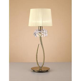 Tafellamp Loewe 1 Bulb E27 Groot, antiek messing met cream shade